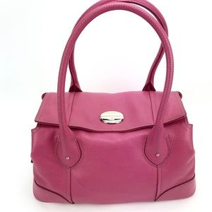 Lancel Paris Signature Pink Pebbled Leather